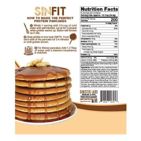 Sinfit Pancake Mix showing cooking instructions to make perfect protein pancake and Nutritional Facts