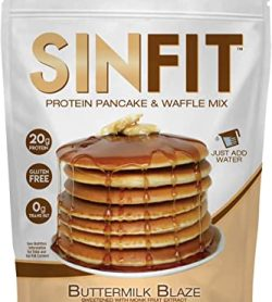 Sinfit protein pancake & waffle mix Buttermilk Blaze flavor has 20g Protein, Gluten Free and 0g Trans fat and net wt 11.5 oz (326.4g)