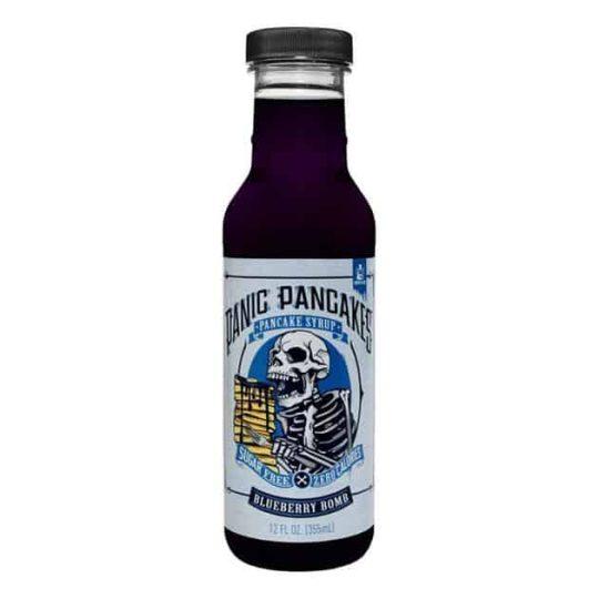 Panic Pancakes pancake syrup with Blueberry Bomb flavor contains sugar free & zero calories 12 fl oz. (355ml)