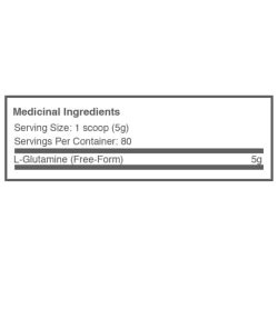 Medicinal ingredients for Ballistic labs Glutamine supplement 400g for serving size of 1 scoop (5g)