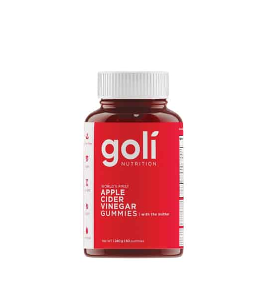 Red plastic bottle of Goli Nutrition apple cider vinegar gummies 60 count red and white label 240 grams with a white lid