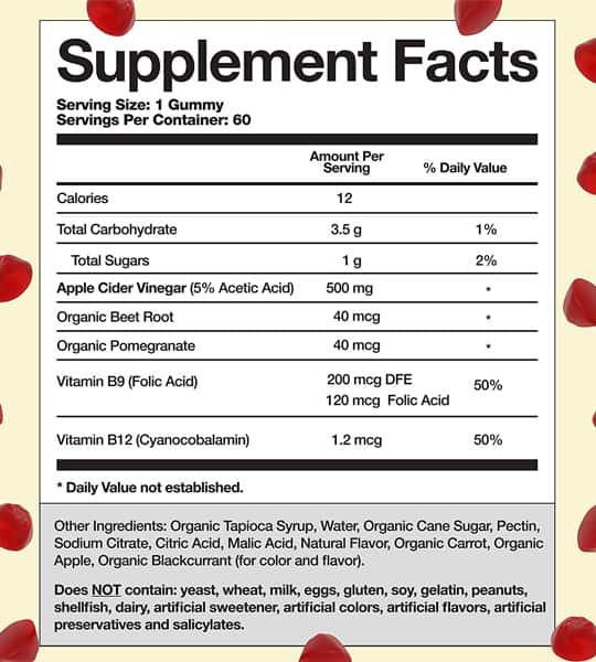 Ingredients and Supplement facts for Goli Nutrition Apple Cider Vinegar Gummies