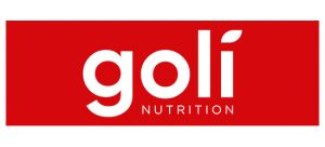 Goli nutrition logo white font with red background