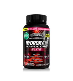 Black bottle of Muscletech Hydroxycut hardcore elite with colorful label new product for Fat loss, extreme energy and intense focus