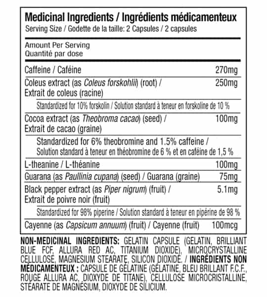 Medicinal Ingredient panel for Muscletech hydroxycut hardcore elite 110 capsules for serving size of 2 capsules