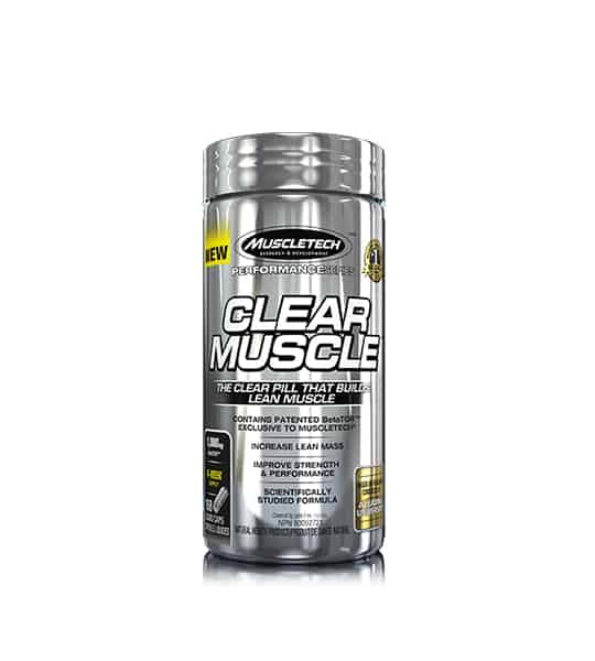 Silver container of Muscletech Clear Muscle The clear pill that builds lean muscle contains patentio BetaTOR exclusive to MuscleTech