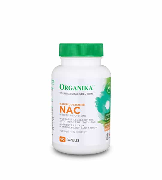White bottle with green lid of Organika Your Natural Solution NAC N-Acetyle-L-Cysteine with 500mg 90 capsules and increases levels of the antioxidant glutathione