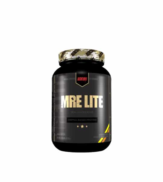 Black bottle with gold graphic cap of Redcon1 MRE Lite animal based protein and real whole food