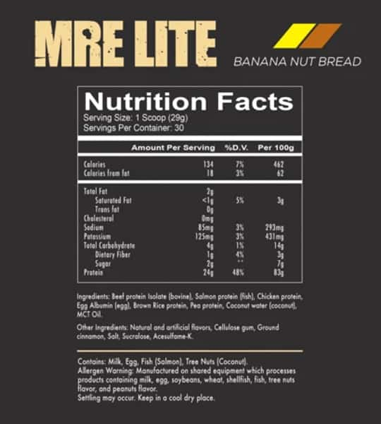 Nutrition facts and ingredients panel for MRE Lite Banana Nut Bread protein for serving size 1 scoop (29g)