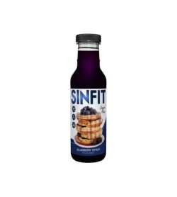 Glass bottle of Sinfit Blueberry syrup contains 12 fl oz (355ml) white label with pancakes and blueberries on it