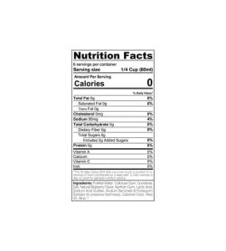 Nutrition facts and ingredient panel for Sinfit Blueberry syrup for serving size 1/4 cup (60ml)