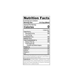 Ingredients and Nutritional Facts for Sinfit maple syurp for pancakes
