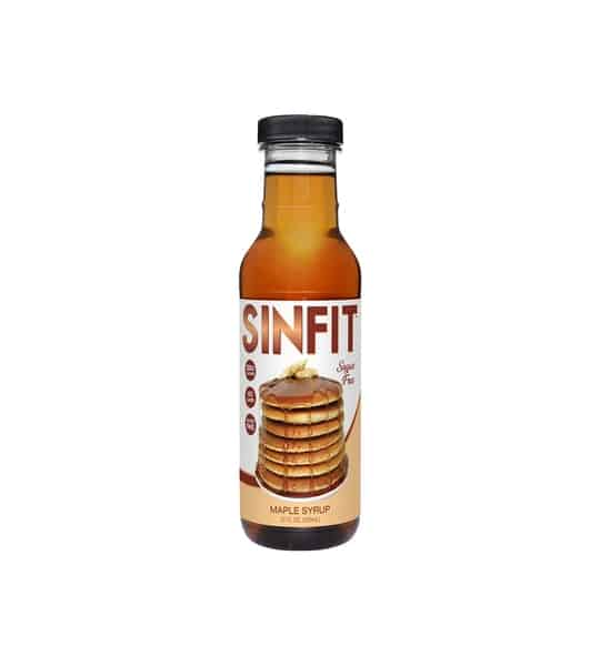 Glass bottle of Sinfit maple syrup with picture of pancakes on it contains 12 fl oz (355ml)
