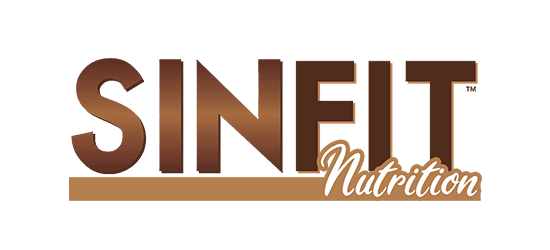 Sinfit Nutrition logo contains brown text with nutrition in italic light brown barb below