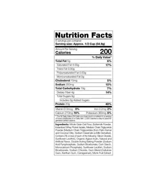 Nutritional facts for Sinfit protein pancake and waffle mix 20g protein shows 6 servings per container for serving size 1/2 cup (54.9g)