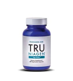 blue tru niagen nad 300mg bottle with white lid for anti aging