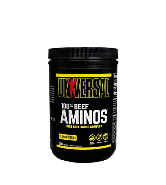 Black bottle of Universal Nutrition 100% Beef Aminos pure beef amino complex Classic Series EAA and BCAAS contains 200 tablets