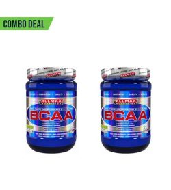 Combo deal 2 shiny blue bottles with white caps of Allmax BCAA contains 400 g shown in white background
