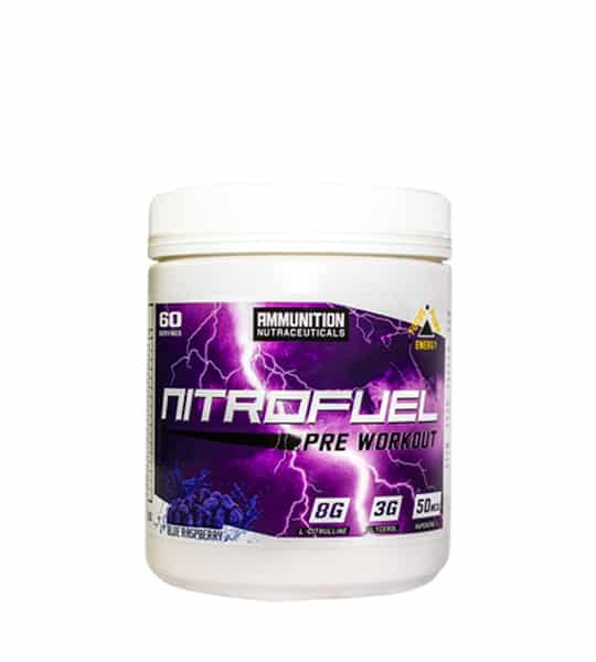 White and purple container of Ammunition Nutraceuticals Nitrofuel Pre Workout 585g