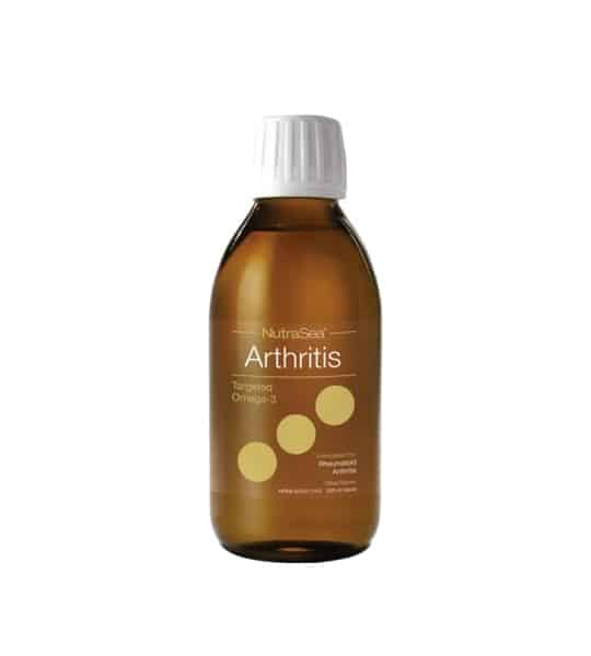Brown bottle with white cap of Ascenta Nutra Sea Arthritis 200 ml shown in white background