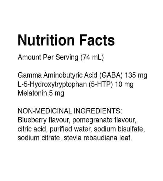 Nutrition facts and ingredients panel of Dream Water Snoozeberry for a serving size of 74 ml shown in black text in white background