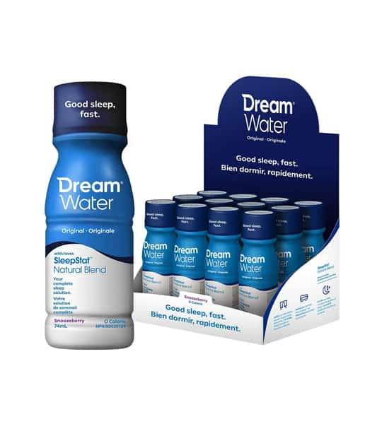A box of 12 white and blue bottles of Dream Water Original SleepStat Natural Blend along with one bottle shown outside the box