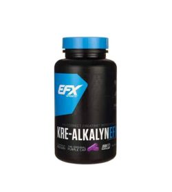 Black bottle with blue cap of EFX Sports Kre Alkalyn 120-Capsules shows purple cap on the label