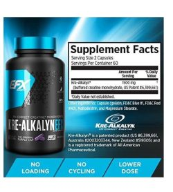 Supplement facts and ingredients panel of EFX Kre-Alkalyn 120-Capsules also shows a black bottle with blue cap