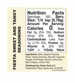 Nutrition facts and ingredients panel of Flavor God Seasonings Fiesta Sweet And Tangy
