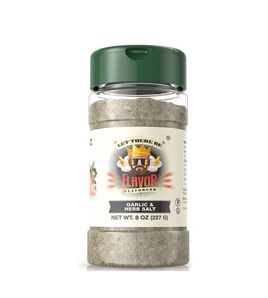 One bottle with green cap of Flavor God Seasonings Garlic and Herb Salt contains 8 oz (227 g)