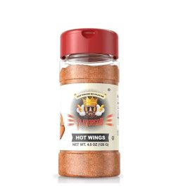 One bottle with red cap of Flavor God Seasonings Hot Wings contains 4.5 oz (128 g)