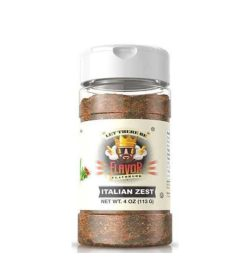 One bottle with white cap of Flavor God Seasonings with Italian Zest flavour contains 4 oz (113 g)