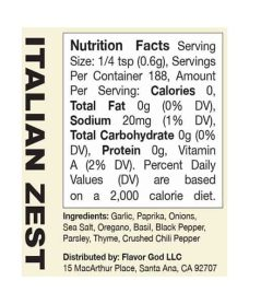 Nutrition facts and ingredients panel of Flavor God Seasonings Italian Zest