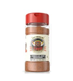 One bottle with red cap of Flavor God Seasonings Jamaican Jerk contains 5.5 oz (156 g)