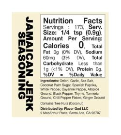 Nutrition facts and ingredients panel of Flavor God Seasonings Jamaican Jerk