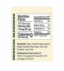 Nutrition facts and ingredients panel of Flavor God Seasonings Sriracha