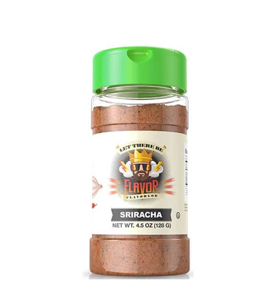 One bottle with green cap of Flavor God Seasonings Sriracha contains 4.5 oz (128 g)