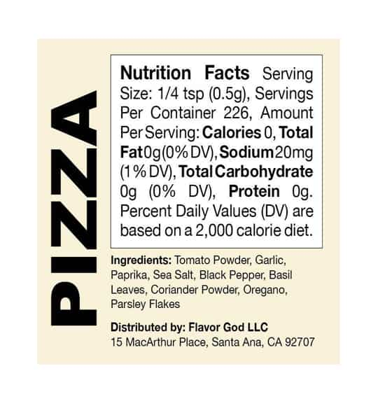 Nutrition facts and ingredients panel of Flavor God Seasonings pizza