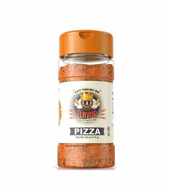 One bottle with orange cap of Flavor God Seasonings pizza contains 4 oz (113 g)