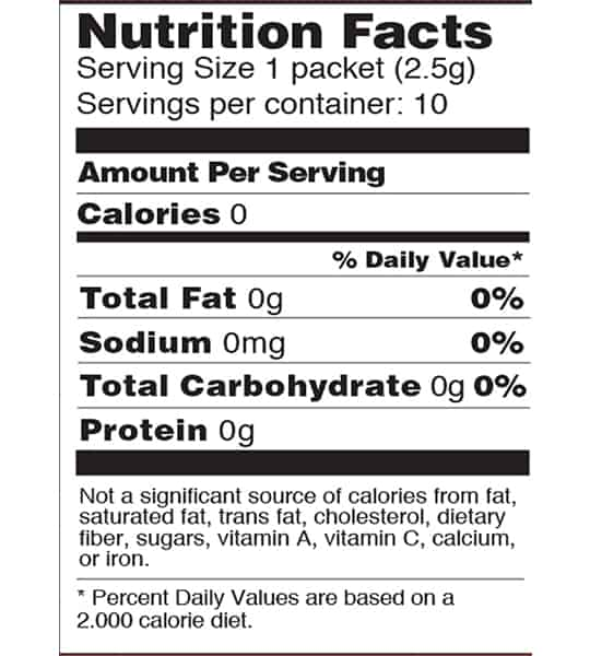 Nutrition facts panel of Four Sigmatic Coffee Mixes 10-packets Cordyceps and Chaga for serving size of 1 packet (2.5 g)