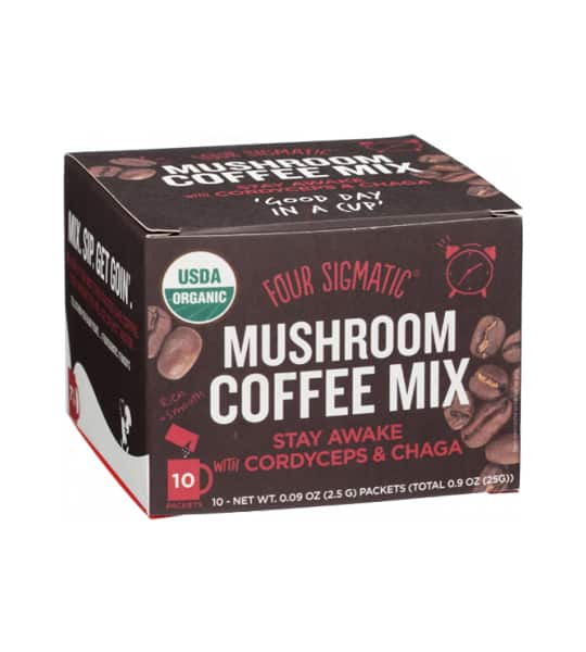 Brown box of Four Sigmatic Mushroom Coffee Mix Stay Awake 10-packets with Cordyceps and Chaga