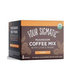 Brown and orange box of Four Sigmatic Mushroom Coffee Mix 10-packets with Lion's Mane and Chaga