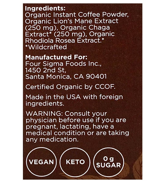 Ingredients panel of Four Sigmatic Coffee Mixes 10-packets Lion's Mane and Chaga
