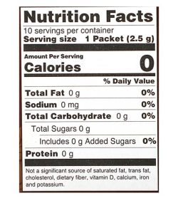 Nutrition facts panel of Four Sigmatic Coffee Mixes 10-packets Lion's Mane and Chaga for serving size of 1 packet (2.5 g)