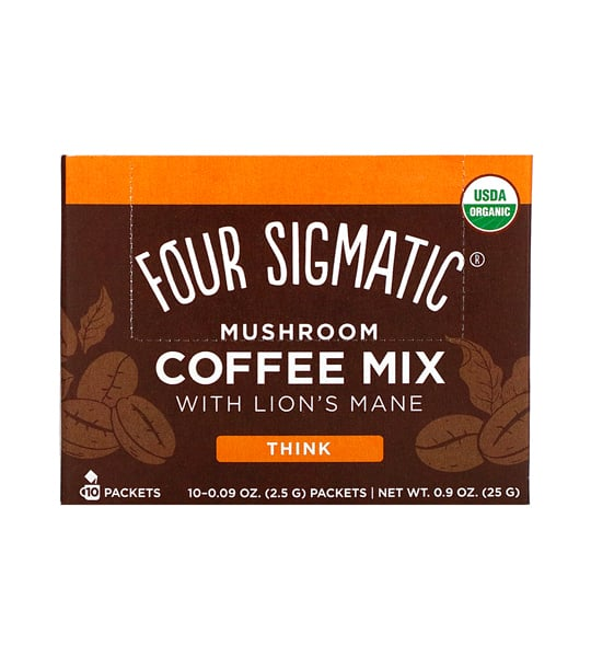 Brown and orange label of Four Sigmatic Mushroom Coffee Mix 10-packets with Lion's Mane and Chaga