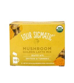 Yellow box of Four Sigmatic Mushroom Golden Latte Mix 10-packets with Shiitake and Tumeric
