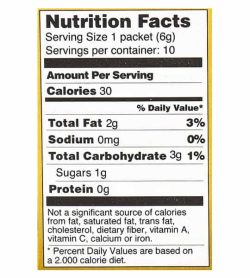 Nutrition facts and ingredients panel of Four Sigmatic Coffee Mixes 10-packets Shiitake and Tumeric