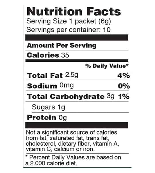 Nutrition facts and ingredients panel of Four Sigmatic Coffee Mixes 10-packets Turkey Tail and Reishi for serving size of 1 packet (6 g)