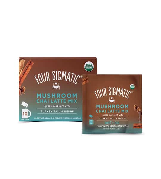 Brown and blue box shown with a pouch of Four Sigmatic Coffee Mix 10-packets Turkey Tail and Reishi