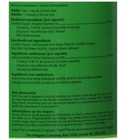 Medicinal ingredients panel of JOTM Oil of oregano 90 Caps